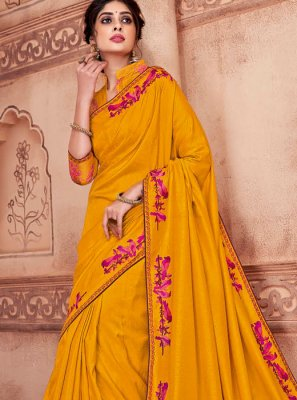 Poly Silk Classic Saree in Mustard