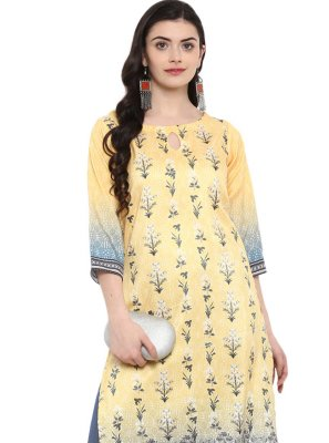 Poly Silk Cream Casual Kurti