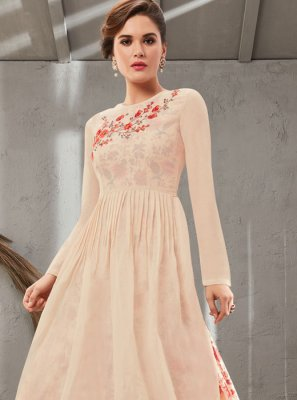 Poly Silk Cream Embroidered Floor Length Trendy Gown