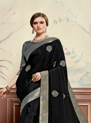 Poly Silk Embroidered Black Classic Saree