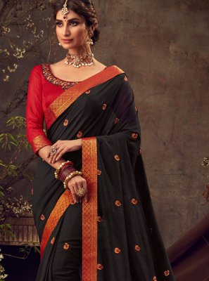Poly Silk Embroidered Black Traditional Saree