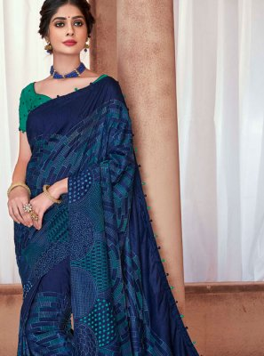 Poly Silk Embroidered Blue Classic Saree