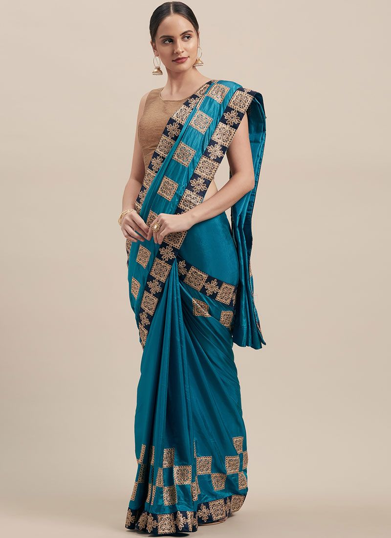 Poly Silk Embroidered Blue Designer Traditional Saree