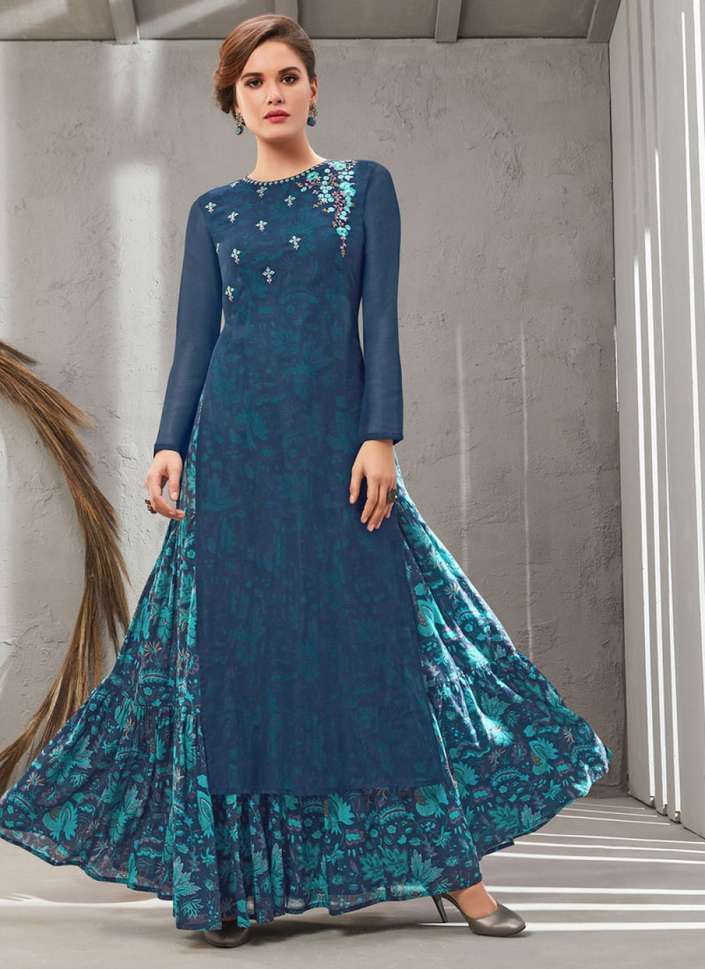 Poly Silk Embroidered Blue Gown