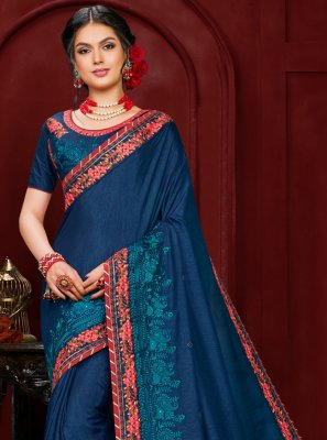 Poly Silk Embroidered Contemporary Saree in Navy Blue