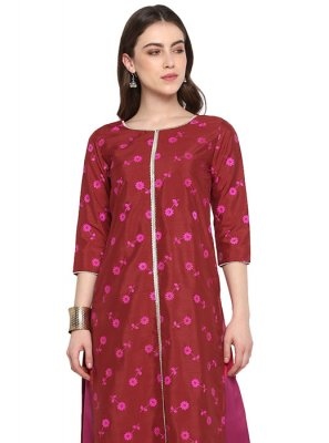 Poly Silk Embroidered Kurta