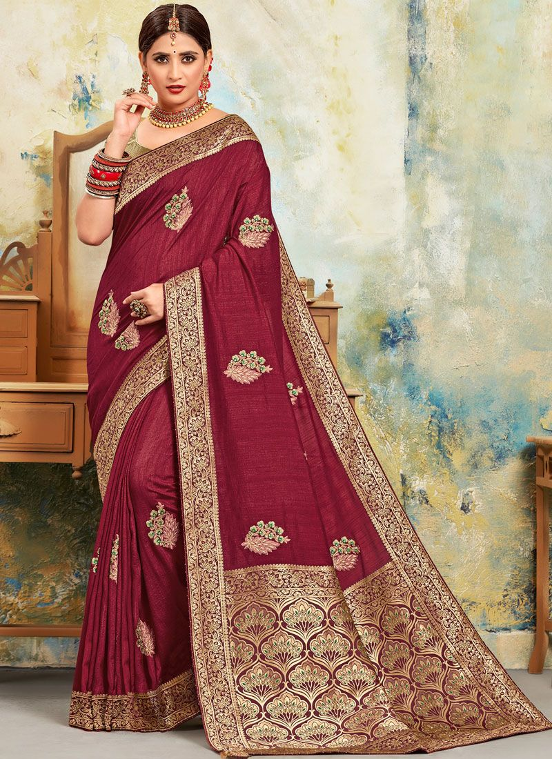 Poly Silk Embroidered Maroon Classic Saree