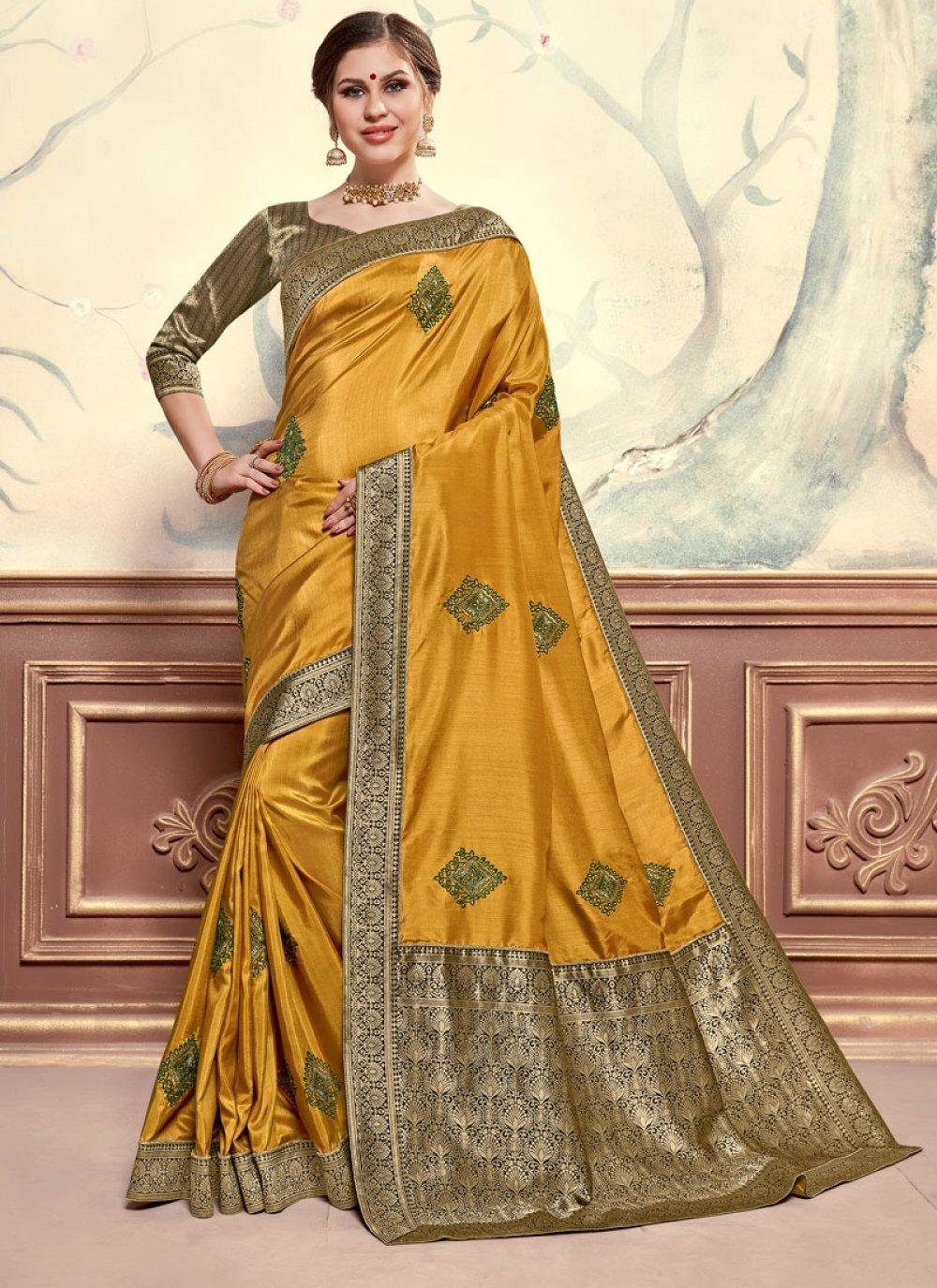 Poly Silk Embroidered Mustard Classic Designer Saree
