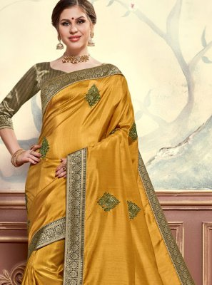 Poly Silk Embroidered Mustard Classic Designer Saree