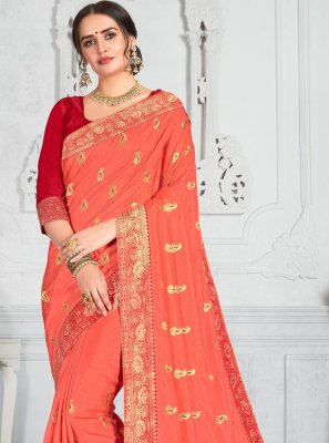 Poly Silk Embroidered Peach Traditional Saree