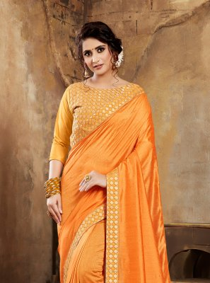 Poly Silk Embroidered Silk Saree