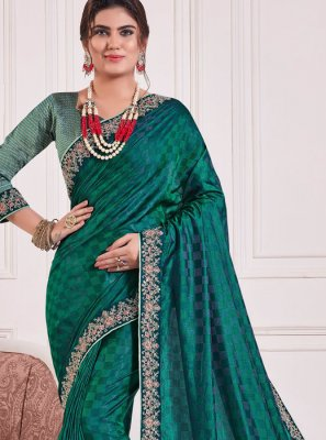 Poly Silk Embroidered Teal Silk Saree