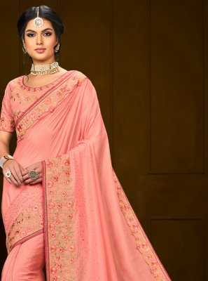 Poly Silk Embroidered Trendy Saree