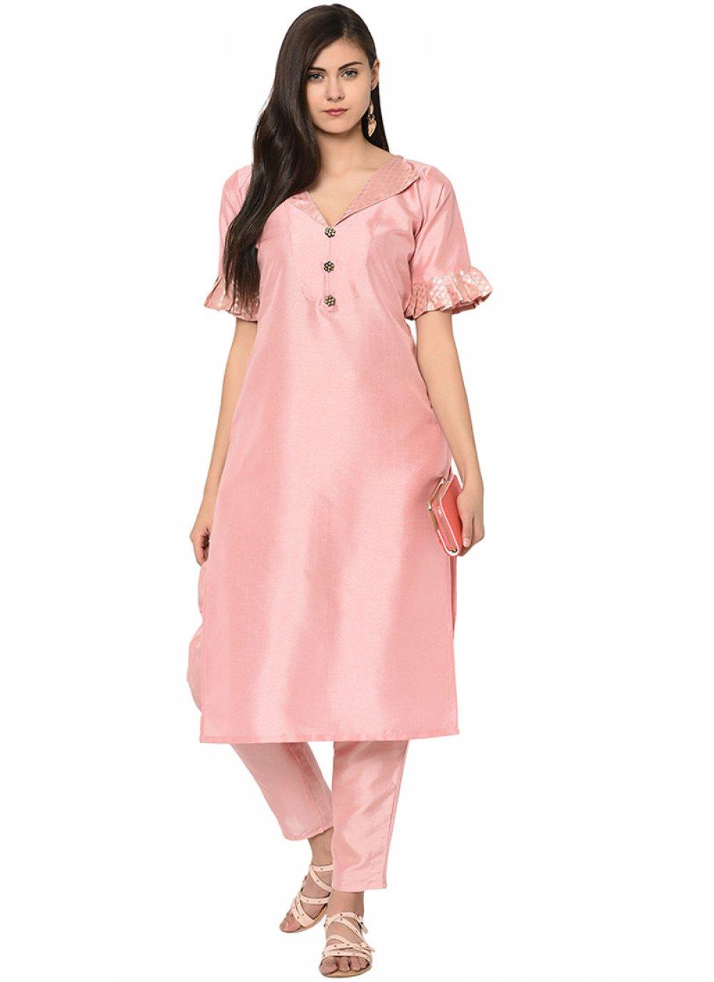 Poly Silk Fancy Party Wear Kurti in Pink