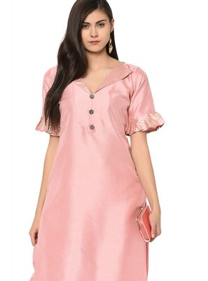 Poly Silk Fancy Party Wear Kurti in Pink