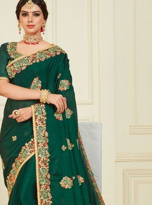Poly Silk Green Designer Traditional Saree