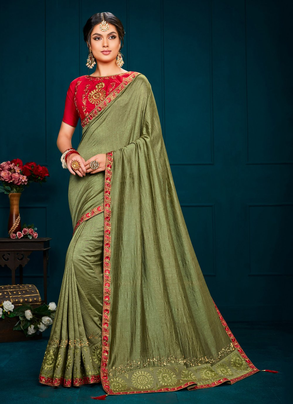 Poly Silk Green Embroidered Contemporary Saree