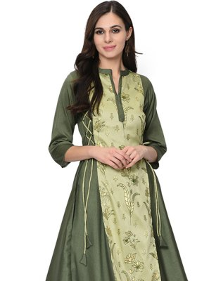 Poly Silk Green Printed Party Wear Kurti