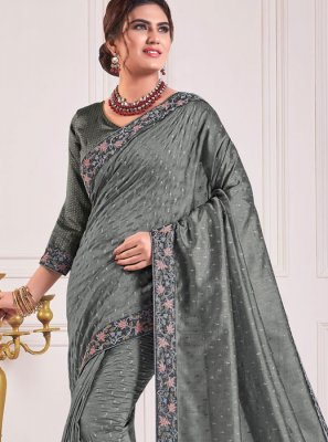 Poly Silk Grey Embroidered Traditional Saree