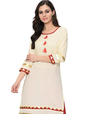 Poly Silk Lace Cream Party Wear Kurti