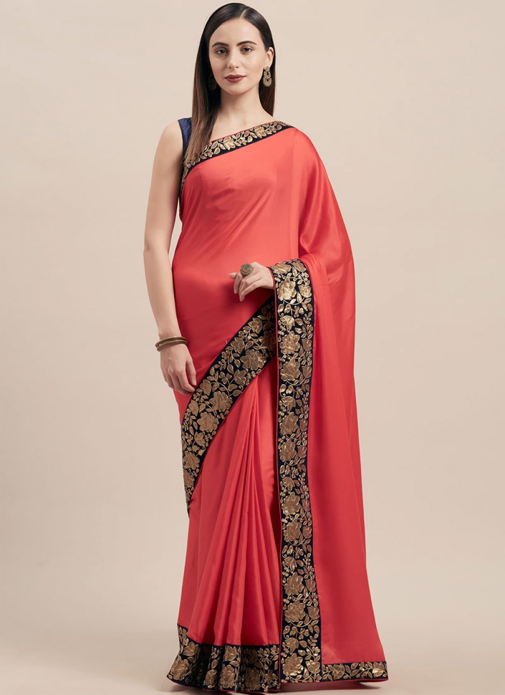 Poly Silk Lace Pink Traditional Saree