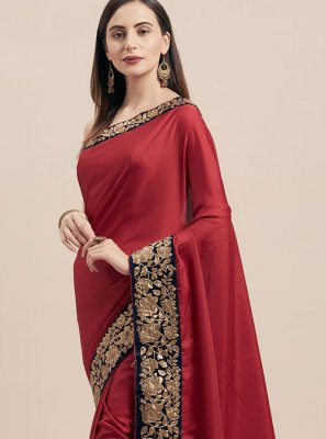 Poly Silk Maroon Lace Traditional Saree