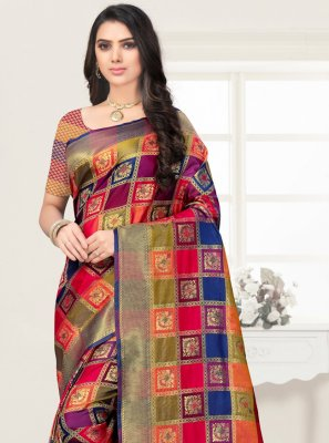 Poly Silk Multi Colour Embroidered Saree