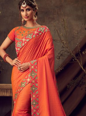 Poly Silk Orange Embroidered Classic Saree