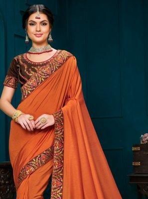 Poly Silk Orange Embroidered Trendy Saree