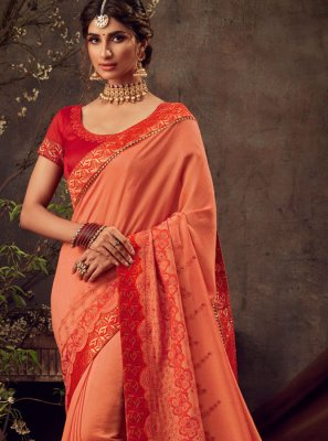Poly Silk Orange Trendy Saree
