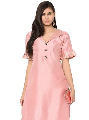 Poly Silk Party Wear Kurti in Peach