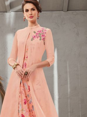 Poly Silk Peach Embroidered Gown