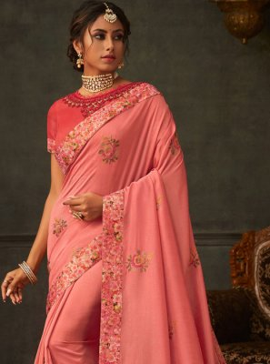 Poly Silk Pink Embroidered Classic Saree