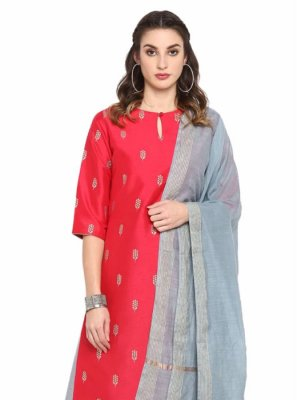 Poly Silk Printed Red Salwar Kameez