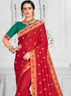 Poly Silk Red Classic Saree