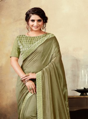 Poly Silk Silk Saree in Green