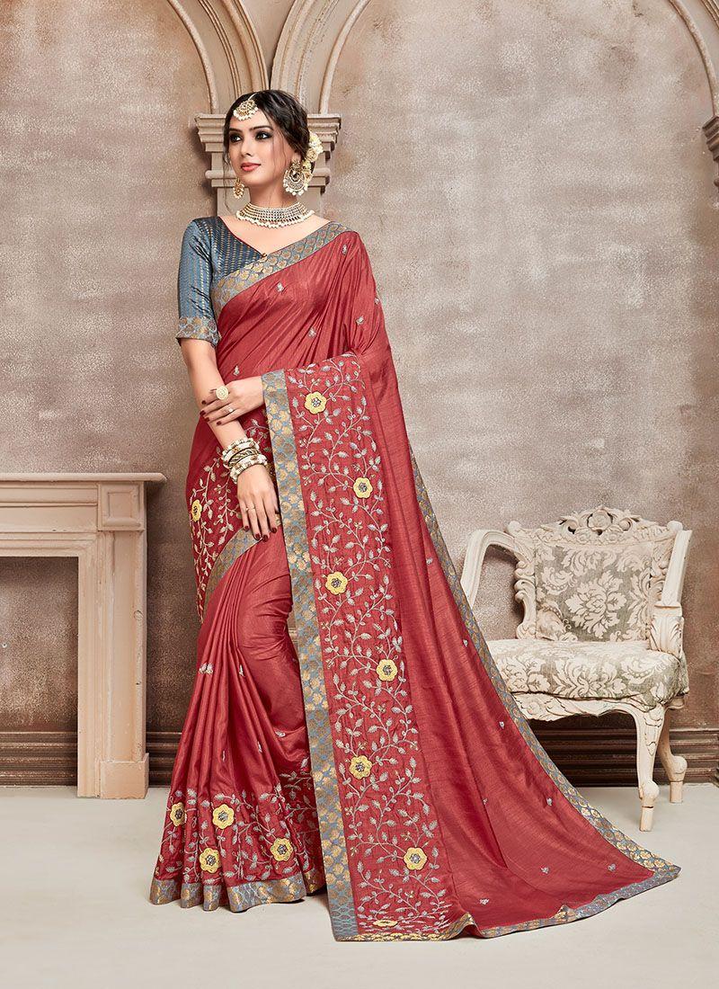 Poly Silk Silk Saree in Red