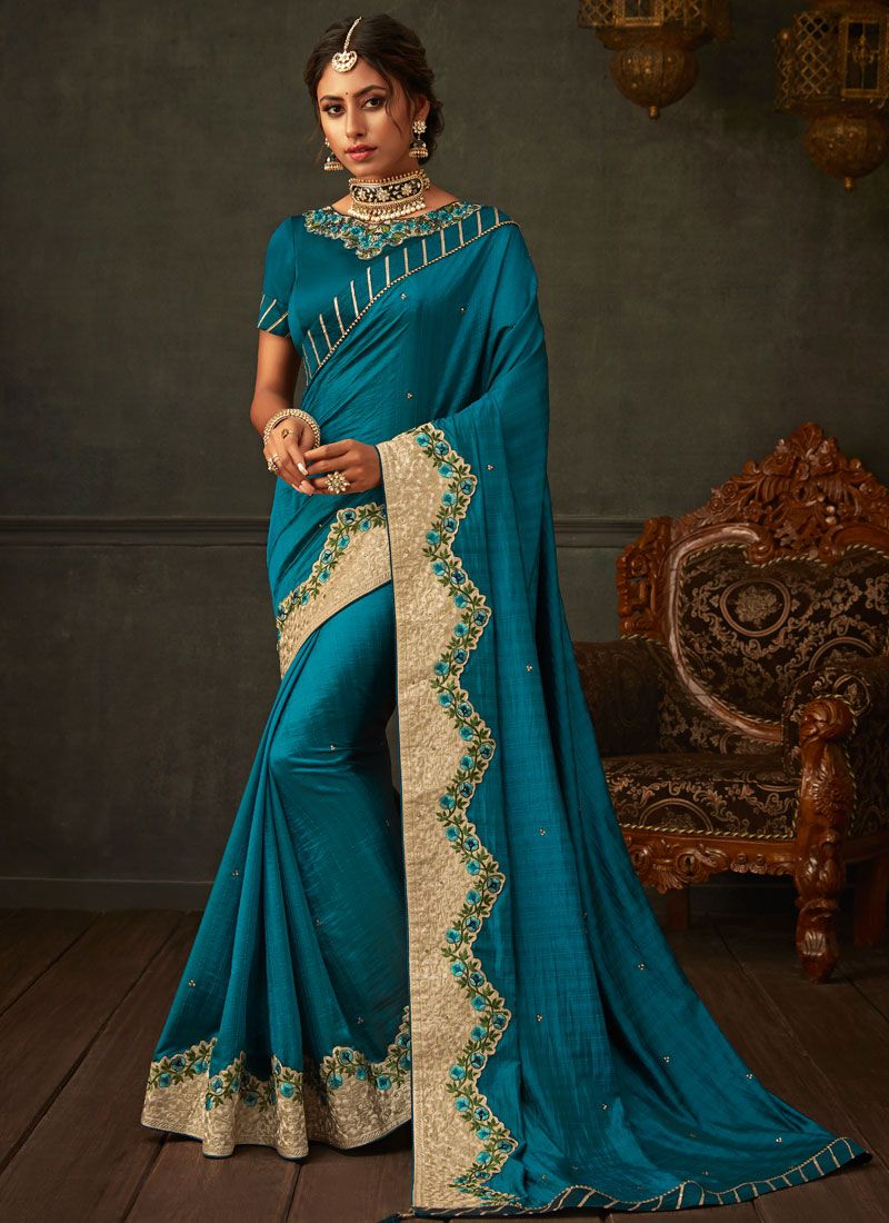 Poly Silk Teal Designer Saree