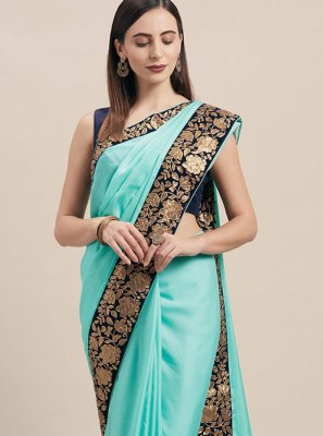 Poly Silk Traditional Saree in Blue