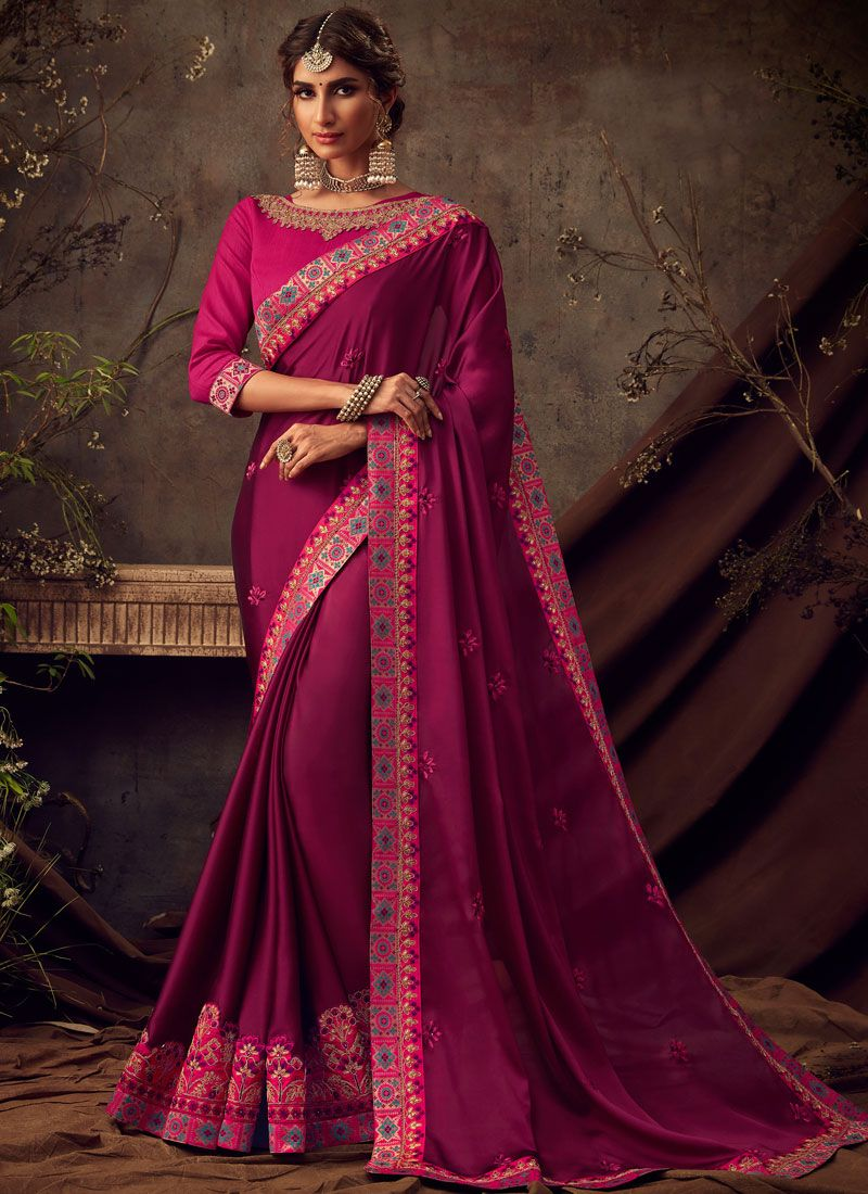 Poly Silk Traditional Saree in Maroon