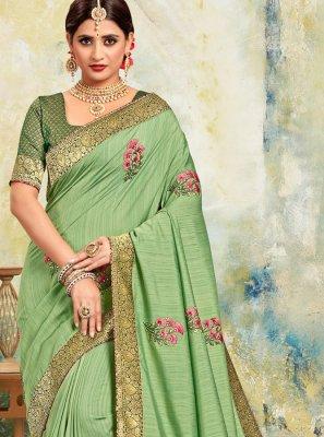 Poly Silk Trendy Saree in Sea Green