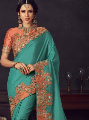 Poly Silk Turquoise Traditional Saree