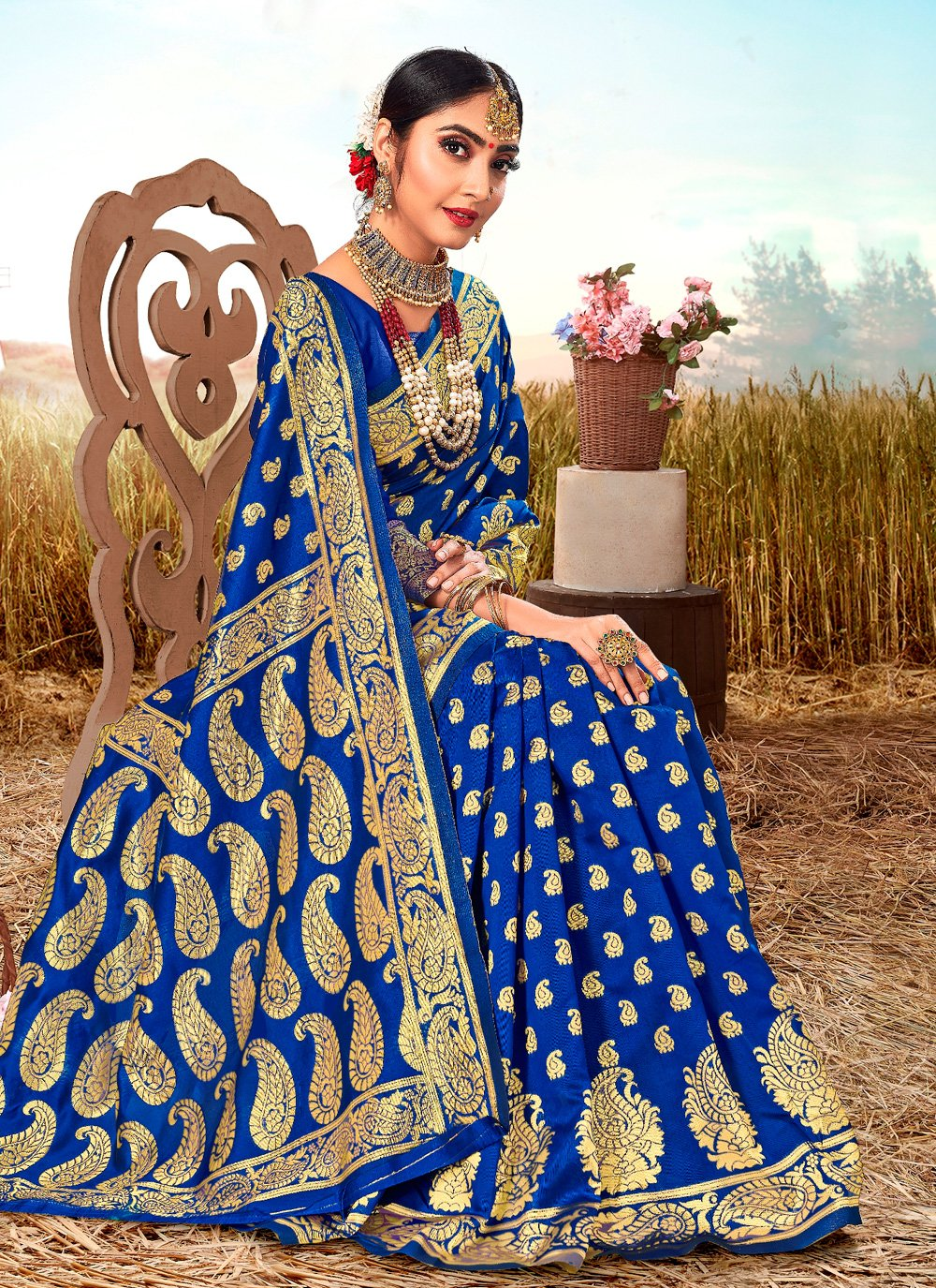 Poly Silk Weaving Blue Bollywood Saree