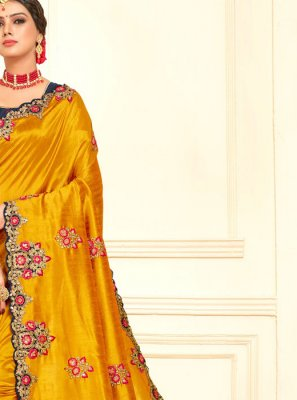 Poly Silk Yellow Traditional Designer Saree