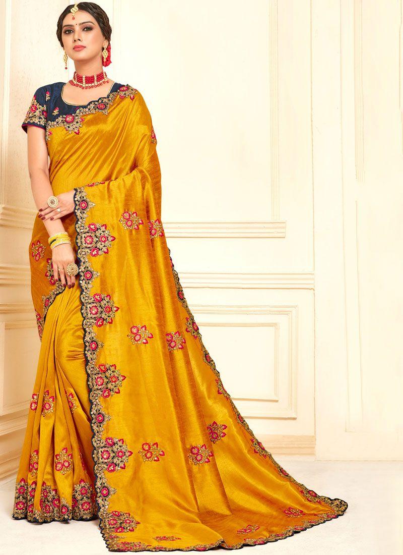Poly Silk Yellow Traditional Designer Saree