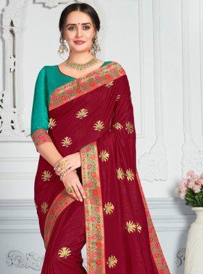 Poly Silk Zari Maroon Designer Saree