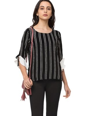 Polyester Printed Casual Kurti in Black