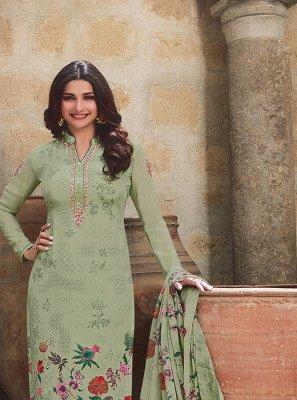 Prachi Desai Faux Crepe Embroidered Churidar Designer Suit
