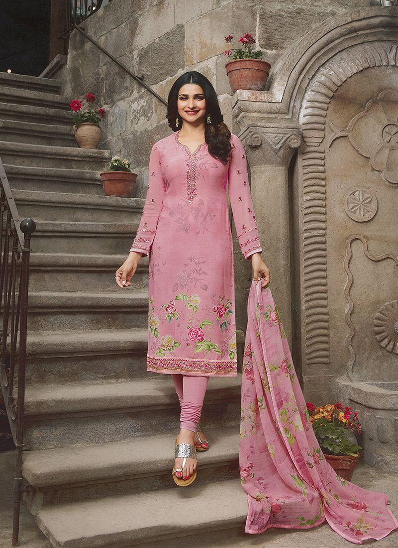Prachi Desai Versatile Pink Churidar Designer Suit