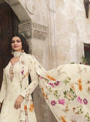 Prachi Desai White Faux Crepe Embroidered Churidar Designer Suit